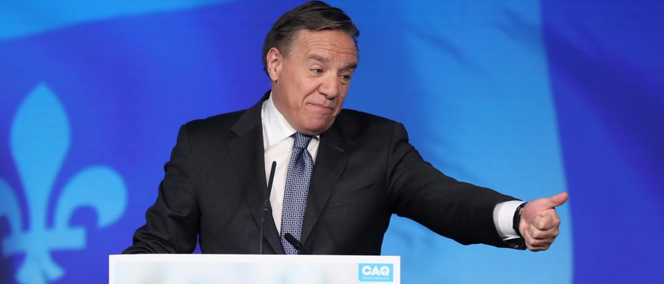 CAQ party leader Legault reacts in Quebec City