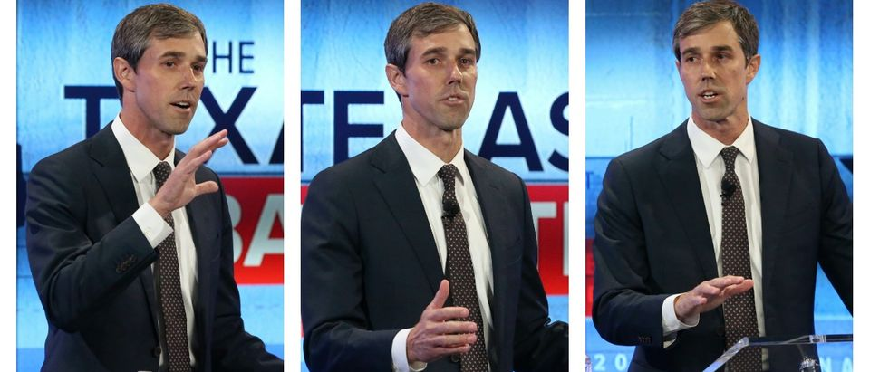 SAN ANTONIO, TX - OCTOBER 15: U.S. Rep. Beto O'Rourke (D-TX) debates U.S. Sen. Ted Cruz (R-TX) at the KENS 5 studios on October 16, 2018 in San Antonio, Texas. A recent poll show Cruz leading O'Rourke 52-45 percent among likely voters. (Tom Reel-Pool/Getty Images)