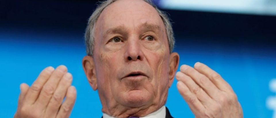 Special envoy to the United Nations for climate change Michael Bloomberg speaks during the One-on-One discussion panel with International Monetary Fund (IMF) Managing Director Christine Lagarde on side of the IMF/World Bank spring meeting in Washington, U.S., April 19, 2018. REUTERS/Yuri Gripas
