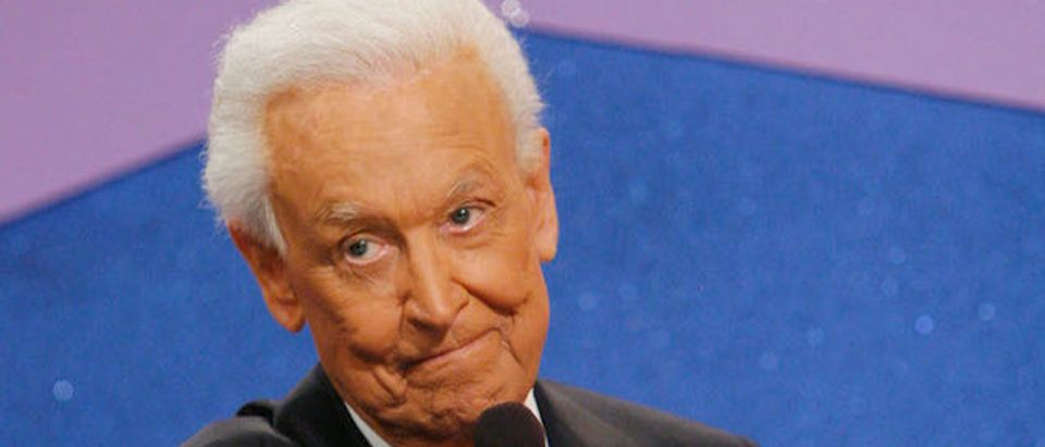 """Television host Bob Barker poses for photographers at his last taping of """"The Price is Right"""" show held at the CBS television city studios in Los Angeles California. (Photo by Mark Davis/Getty Images)"""