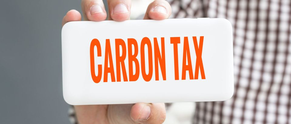 """Picture of someone holding a """"carbon tax"""" sign. Shutterstock"""