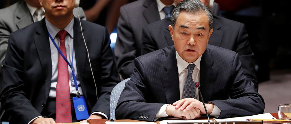 China's Foreign Minister Wang Yi addresses a Security Council meeting at U.N. headquarters in New York