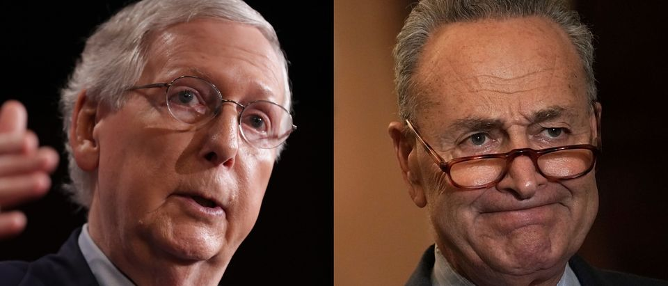 Senate Majority Leader Mitch McConnell was accused by Senate Minority Leader Chuck Schumer of trying to take away families' health care Wednesday. Chip Somodevilla/Getty Images and Alex Wong/Getty Images