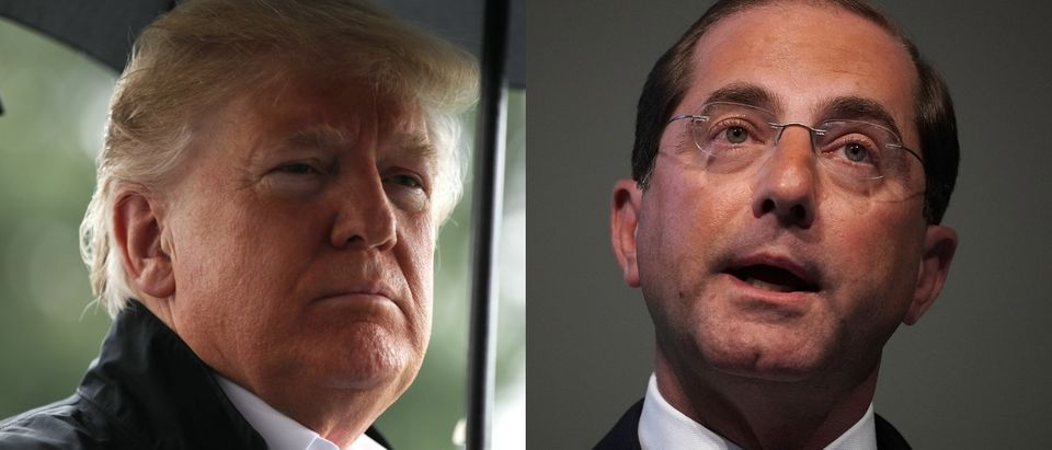 The Trump administration is taking a multipronged approach to lowering drug prices led by HHS Sec. Alex Azar (right). Chip Somodevilla/Getty Images and Alex Wong/Getty Images