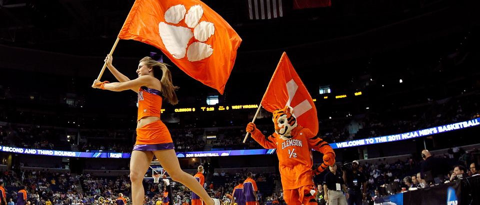 Cheerleaders from the Clemson Tigers perform against the West Virginia Mountaineers during the second round of the 2011 NCAA men's basketball tournament at St. Pete Times Forum on March 17, 2011 in Tampa, Florida. (Photo by J. Meric/Getty Images)