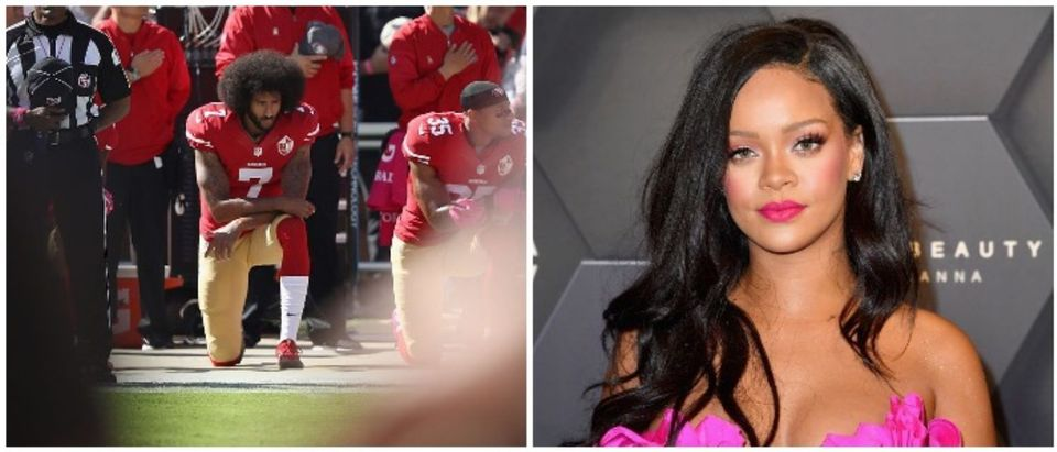 Colin Kaepernick and Rihanna (LEFT: Photo by Ezra Shaw/Getty Images RIGHT: ANGELA WEISS/AFP/Getty Images)