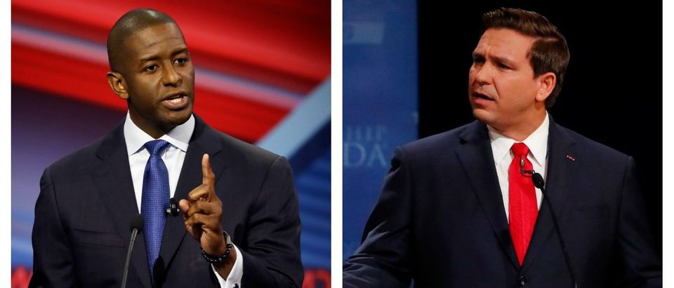LEFT: Florida Democratic gubernatorial candidate Andrew Gillum speaks during a CNN debate against his Republican opponent Ron DeSantis, Sunday, Oct. 21, 2018, in Tampa, Fla. (Chris O'Meara-Pool/Getty Images) RIGHT: Republican Ron DeSantis makes a point during his debate with Democrat Andrew Gillum at Broward College October 24, 2018 in Davie, Florida. The second and final debate between the two Florida gubernatorial candidates was marked by sharp personal attacks as the November 6 election approaches. (Wilfredo Lee-Pool/Getty Images)