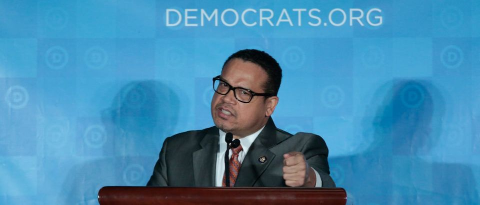 Democratic National Chair candidate, Keith Ellison, addresses the audience as the Democratic National Committee holds an election to choose their next chairperson at their winter meeting in Atlanta