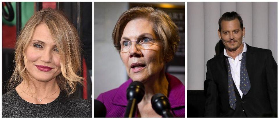 Cameron Diaz, Sen. Elizabeth Warren, and Johnny Depp (LEFT: Theo Wargo/Getty Images MIDDLE: Zach Gibson/Getty Images RIGHT: Andreas Rentz/Getty Images)