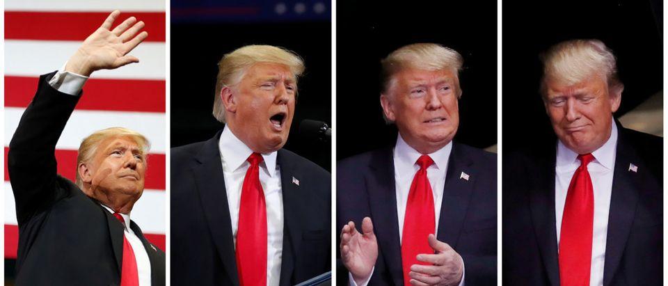President Donald Trump in combination photo during a campaign rally in Estero Florida