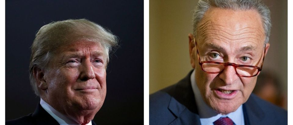 Side-by-side of Donald Trump and Chuck Schumer.