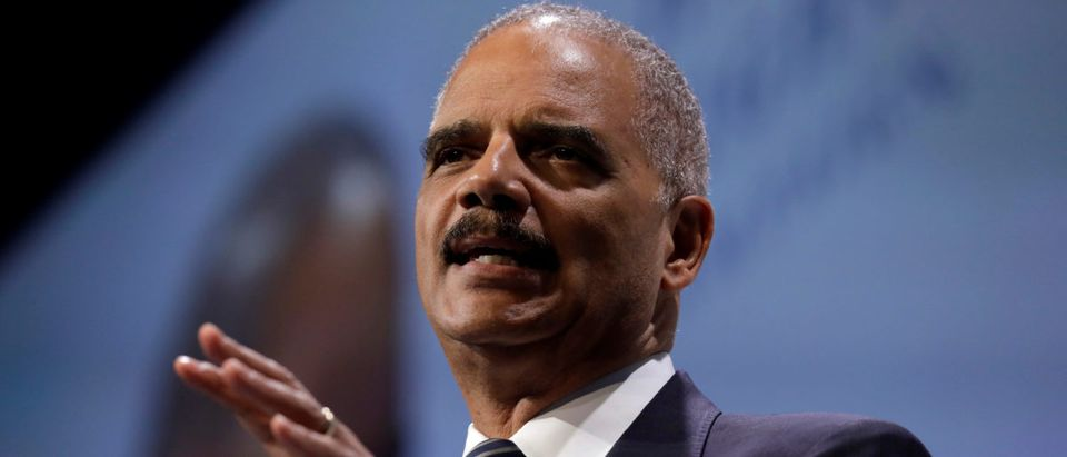 Former U.S. Attorney General Holder addresses the HRC dinner in Washington