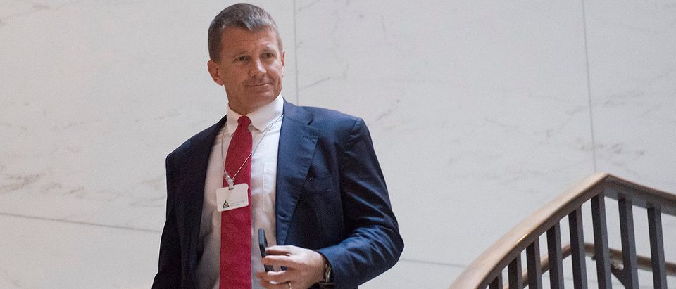 Erik Prince, former Navy Seal and founder of private military contractor Blackwater USA, arrives to testify during a closed-door House Select Intelligence Committee hearing on Capitol Hill in Washington, DC, November 30, 2017. SAUL LOEB/AFP/Getty Images
