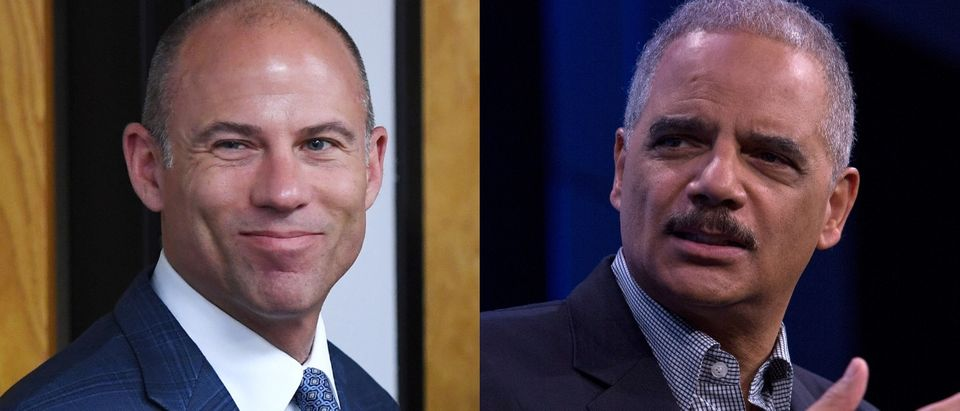 Former Attorney General Eric Holder and Stormy Daniels's attorney Michael Avenatti have similar rhetoric. Ethan Miller/Getty Images and Toya Sarno Jordan/Getty Images