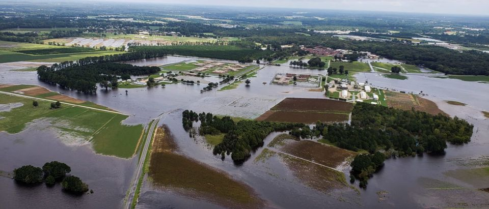 Aerial view of farms flooded after the passing of Hurricane Florence in Eastern North Carolina