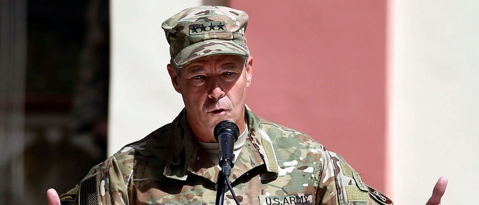 Incoming Commander of Resolute Support forces and command of NATO forces in Afghanistan, U.S. Army General Scott Miller speaks during a change of command ceremony in Resolute Support headquarters in Kabul, Afghanistan