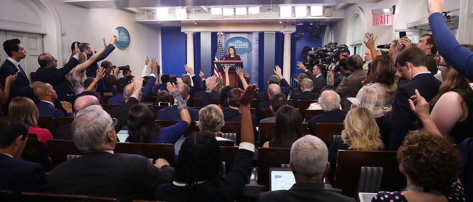 White House Press Secretary Sarah Huckabee Sanders speaks to the media in the White House Briefing Room, on Aug. 14, 2018 in Washington, D.C. Photo by Mark Wilson/Getty Images