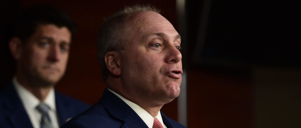 House Majority Whip Steve Scalise, R-La., speaks to the media during the weekly news conference at the U.S. Capitol on September 13, 2018 in Washington, DC. Astrid Riecken/Getty Images