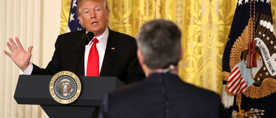 President Donald Trump answers a question from CNN's Jim Acosta during a news conference announcing Alexander Acosta as the new Labor Secretary nominee in the East Room at the White House on February 16, 2017 in Washington, D.C. (Photo by Mark Wilson/Getty Images)