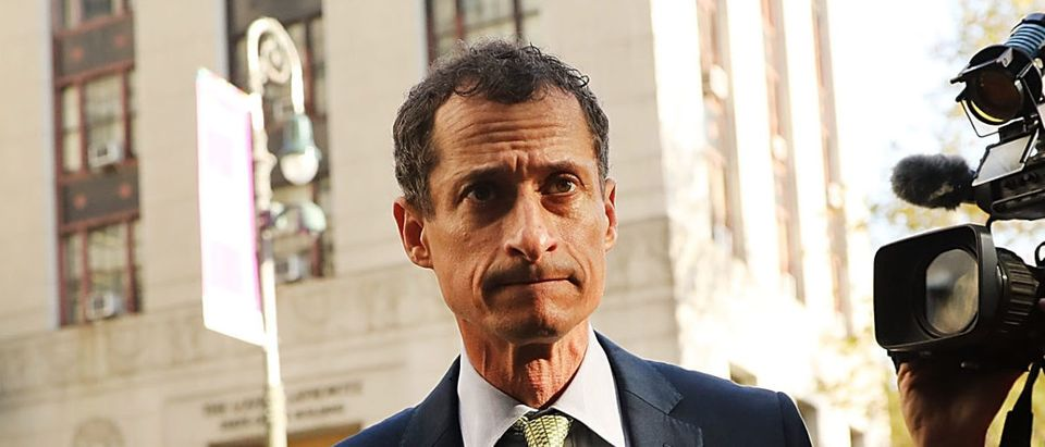 Former congressman Anthony Weiner arrives at a New York courthouse for his sentencing in a sexting case on September 25, 2017 in New York City. (Photo by Spencer Platt/Getty Images)
