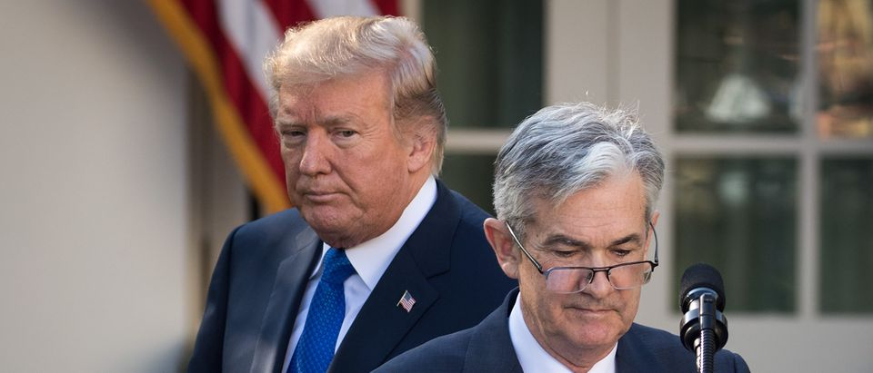 (L to R) U.S. President Donald Trump looks on as his nominee for the chairman of the Federal Reserve Jerome Powell takes to the podium during a press event in the Rose Garden at the White House, November 2, 2017 in Washington, DC. Photo by Drew Angerer/Getty Images