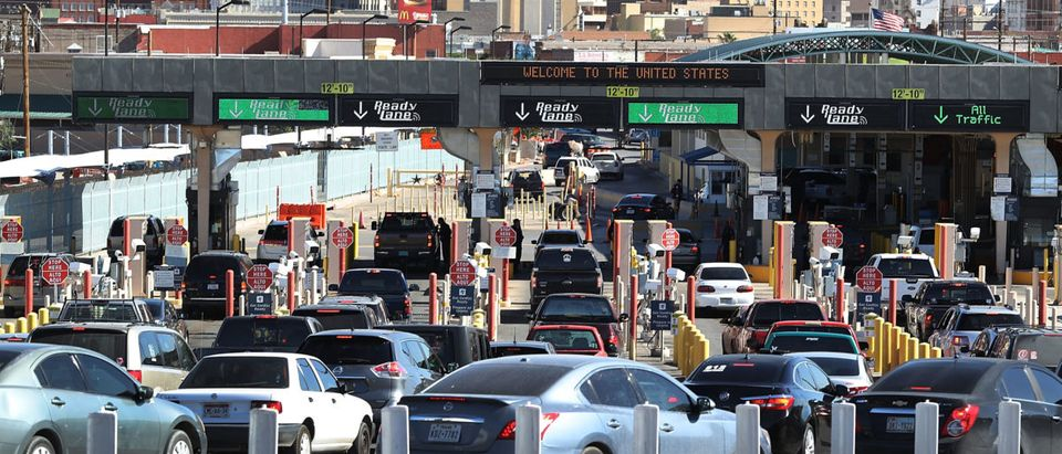 Cars line up at the Paso Del Norte Port of Entry to enter the United States on June 20, 2018 in El Paso, Texas. Joe Raedle/Getty Images