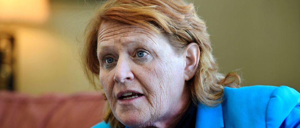 Sen. Heidi Heitkamp discusses farm policy at Jamestown College, Jamestown, North Dakota