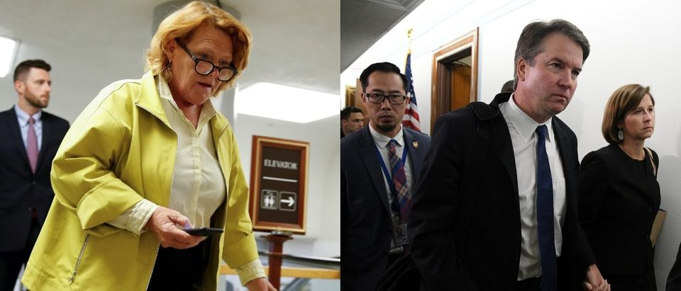 LEFT: Senator Heidi Heitkamp (D-ND) walks at the U.S. Capitol in Washington, U.S., August 22, 2018. REUTERS/Joshua Roberts. RIGHT: Supreme Court nominee Brett Kavanaugh and his wife Ashley leave at the conclusion of the day's Senate Judiciary Committee confirmation hearing of Kavanaugh and Palo Alto University professor Christine Blasey Ford, who has accused Kavanaugh of sexual assault in 1982, in Washington, September 27, 2018. REUTERS/Mary F. Calvert