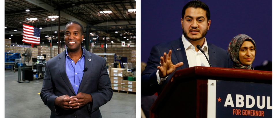 ETROIT, MI - AUGUST 7: John James, Michigan GOP Senate candidate, does an interview with a news media outlet before holding an election night event at his business, James Group International, August 7, 2018 in Detroit, Michigan. The Michigan Primary election is being held today, and James, one of two Republican Senate candidates competing to see who will run against Democrat incumbent Sen. Debbie Stabenow, has President Donald Trump's endorsement. (Photo by Bill Pugliano/Getty Images). Democratic candidate for Governor Abdul El-Sayed addresses his supporters, as his wife Sarah Jukaku looks on, at his Michigan Primary Election night party, after conceding defeat to Gretchen Whitmer at Cobo Center in Detroit, Mich