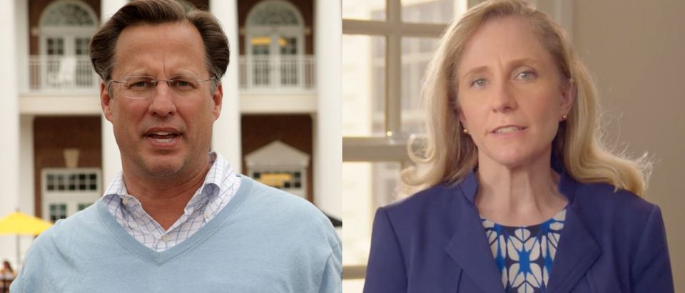Virginia Republican Rep. Dave Brat is being challenged by Democrat Abigail Spanberger. Jay PaulGetty Images and YouTube screenshotAbigail Spanberger for Congress