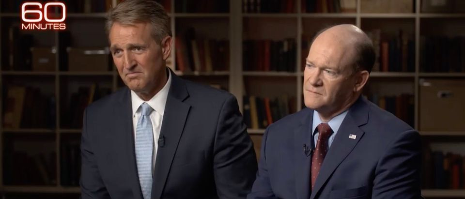"Sens. Jeff Flake and Chris Coons sit for an interview that aired Sunday, Sept. 30, 2018, on ""60 Minutes"" on CBS. (Photo: Screenshot/CBS)"