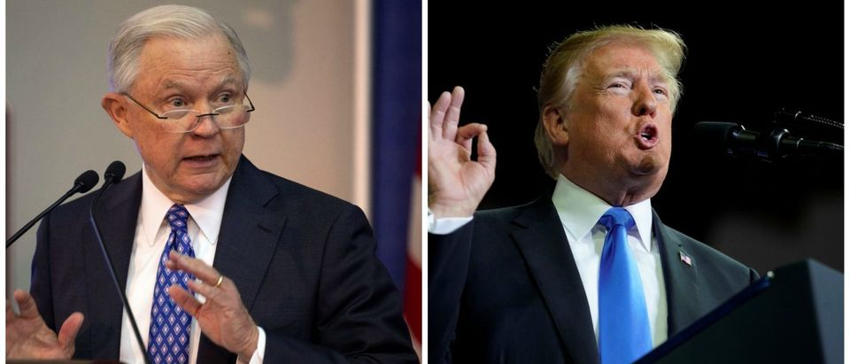 (L) Attorney General Jeff Sessions (R) President Donald Trump. (Images via Reuters)