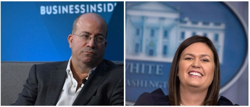 Jeff Zucker and Sarah Sanders (LEFT: Roy Rochlin/Getty Images RIGHT: Chip Somodevilla/Getty Images)