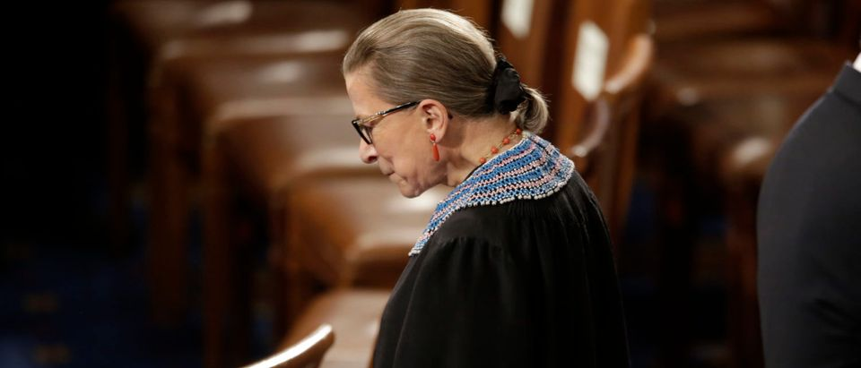 File photo of U.S. Supreme Court Associate Justice Ruth Bader Ginsburg arriving to watch U.S. President Barack Obama's State of the Union address to a joint session of the U.S. Congress on Capitol Hill in Washington