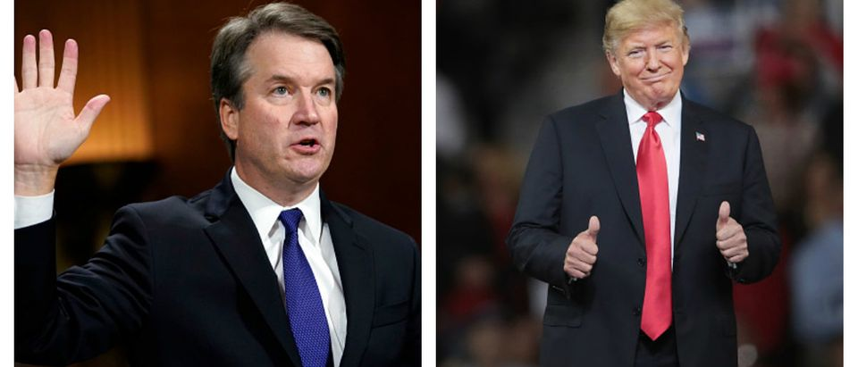 Pictured are Justice Brett Kavanaugh (L) and President Donald Trump (R) side by side. (Photos: Getty Images Andrew Hamik - Scott Olson)