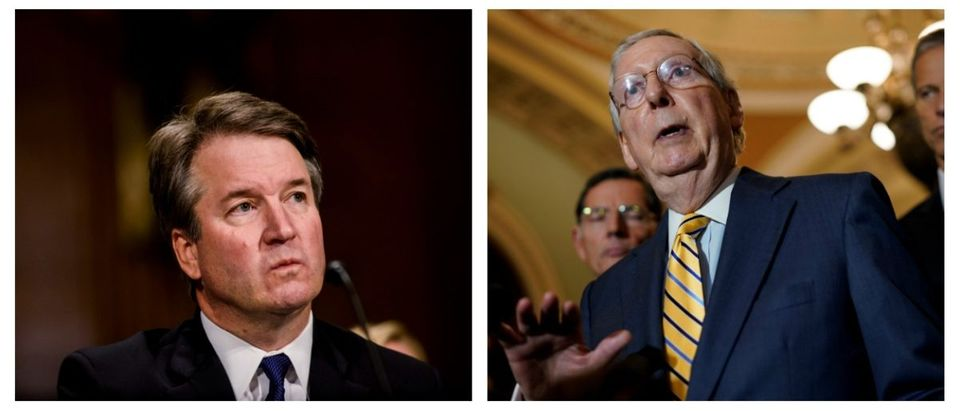 Side-by-side of Brett Kavanaugh and Mitch McConnell.