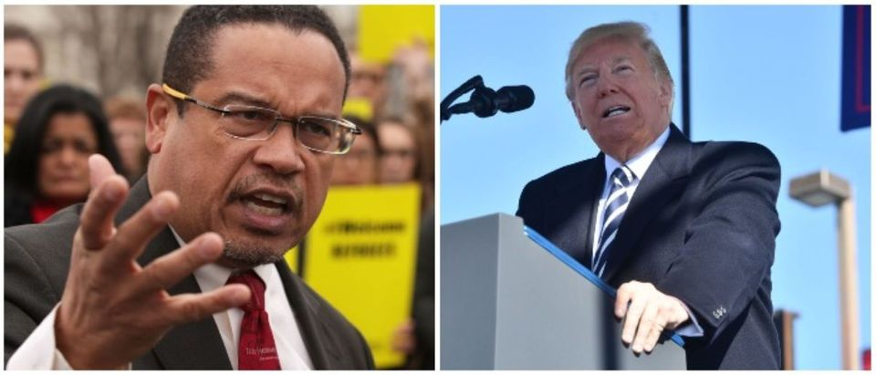 Keith Ellison and Donald Trump (LEFT: Alex Wong/Getty Images RIGHT: NICHOLAS KAMM/AFP/Getty Images)