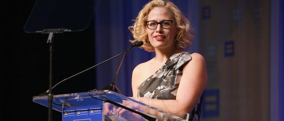 Congresswoman Kyrsten Sinema speaks onstage at The Human Rights Campaign 2018 Los Angeles Gala Dinner at JW Marriott Los Angeles at L.A. LIVE on March 10, 2018 in Los Angeles. (Photo by Rich Fury/Getty Images for Human Rights Campaign (HRC))