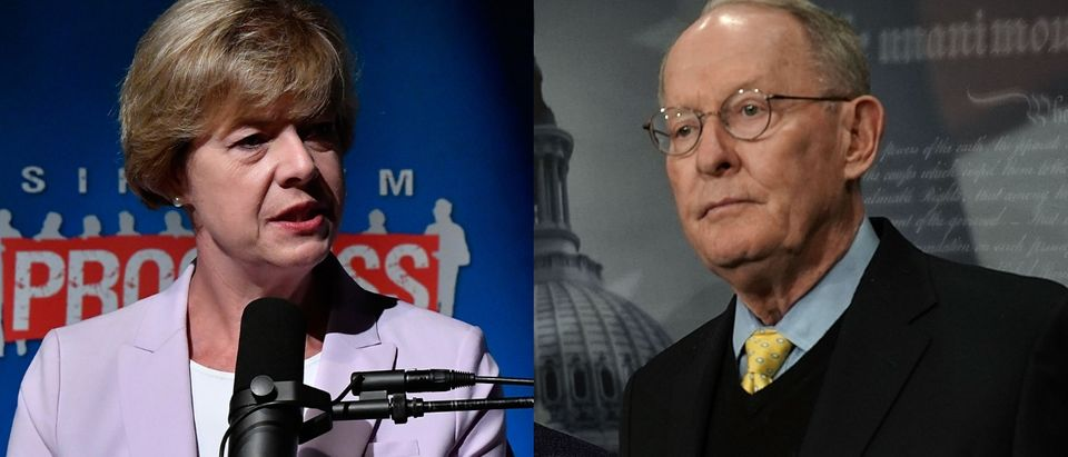 Democratic Wisconsin Sen. Tammy Baldwin and Republican Tennessee Sen. Lamar Alexander discussed health care on the Senate floor Oct. 10, 2018. Larry French/Getty Images for SiriusXM and Alex Wong/Getty Images