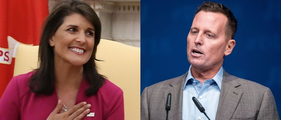 Nikki Haley (left) could be replaced by Richard Grenell (right). Mark Wilson/Getty Images (L) and DANIEL BOCKWOLDTAFP/Getty Images (R)