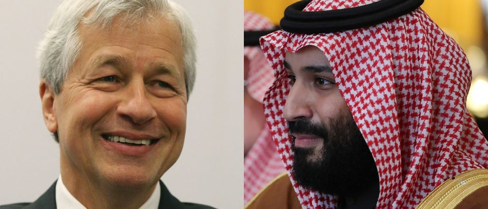 JP Morgan Chase Chief Executive Jamie Dimon (L) pulled out of a business conference that would have furthered Saudi Crown Prince Mohammed bin Salman's (R) vision for the country. Mark Wilson/Getty Images and Dan Kitwood - WPA Pool/Getty Images