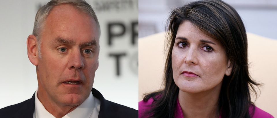 Interior Secretary Ryan Zinke could replace outgoing U.S. Ambassador to the United Nations Nikkie Haley, according to a report. Mark Wilson/Getty Images and OLIVIER DOULIERY/AFP/Getty Images