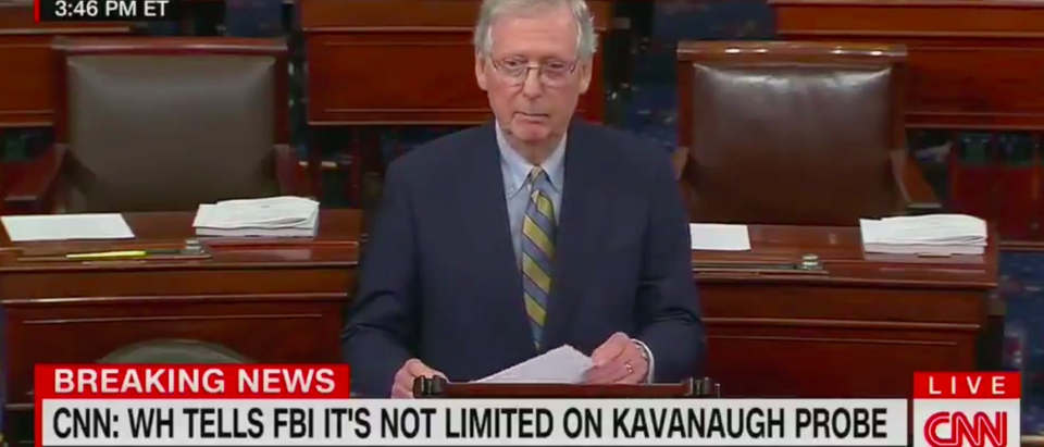 Pictured is Senate Majority Leader Mitch McConnell on the Senate floor. [YouTube/Screenshot]