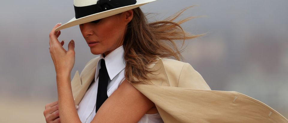 U.S. first lady Melania Trump tours the pyramids of Egypt in Cairo