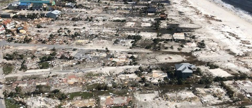 Damaged and destroyed buildings are seen in an aerial photograph, taken during a post-Hurricane Michael flight by a U.S. Coast Guard MH-65 helicopter over Mexico Beach, Florida, U.S. October 11, 2018. Picture taken October 11, 2018. U.S. Coast Guard/Petty Officer 1st Class Colin Hunt/Handout via REUTERS.