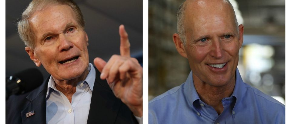 LEFT: Sen. Bill Nelson (D-FL) speaks during a campaign rally at the International Union of Painters and Allied Trades on August 31, 2018 in Orlando, Florida. Mr. Nelson is facing off against Republican Florida Governor Rick Scott for the Florida Senate seat. (Joe Raedle/Getty Images) RIGHT: Florida Governor Rick Scott speaks with people during a visit to the Shell Lumber and Hardware store on June 4, 2018 in Miami, Florida. The governor visited the store to highlight the disaster preparedness sales tax holiday running now through June 7th (Joe Raedle/Getty Images)