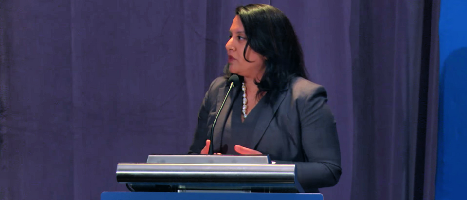 OIRA administrator Neomi Rao speaks at a Federalist Society conference in April 2018. (YouTube screenshot/Federalist Society)