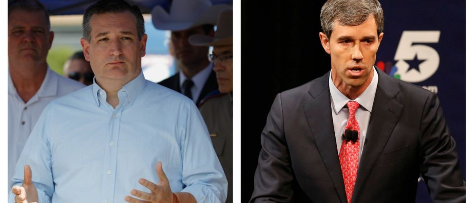 LEFT: Texas Sen. Ted Cruz speaks during a press conference about the shooting incident at Santa Fe High School May 18, 2018 in Santa Fe, Texas. (Bob Levey/Getty Images) RIGHT: Republican U.S. Senator Ted Cruz and Democratic U.S. Representative Beto O'Rourke in their first debate for Texas U.S. Senate in McFarlin Auditorium at SMU on September 21, 2018 in Dallas, Texas. (Nathan Hunsinger-Pool/Getty Images)