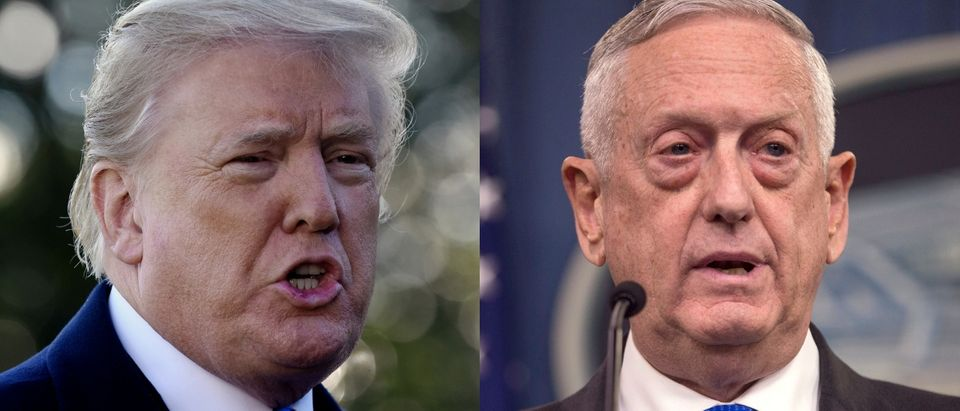 "President Donald Trump discussed his Defense Secretary James Mattis (right) during an interview with ""60 Minutes"" set to air Oct. 14, 2018. Olivier Douliery - Pool/Getty Images and Zach Gibson/Getty Images"