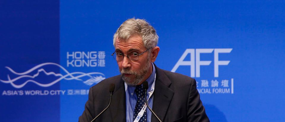 Paul Krugman, professor of economics and international affairs at Princeton University, addresses a luncheon at the Asian Financial Forum in Hong Kong January 20, 2015. REUTERS/Bobby Yip